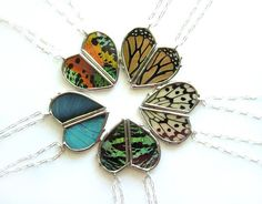 2 Butterfly Love Heart Necklaces- Two halves make a heart, friendship, best friends, mother daughter, BFF, real butterfly wings #madeinusa