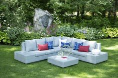 Modernize the backyard - love the attached side tables and light refreshing colours. Outdoor Sectionals, Family Pool, Patio Kitchen, Outdoor Furniture Sets, Outdoor Decor, Side Tables, Contemporary, Modern, Fireplaces