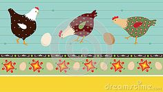 folk art chicken signs | ... illustration of stylized chickens and decorative elements, eps 10