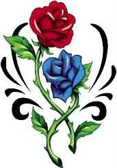 TRIBAL BLUE RED ROSE Awesome!!! Temporary Tattoo LARGE