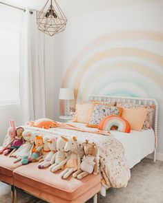 I'm so excited to share Isla's rainbow themed bedroom with you all! I basically let her take the lead on this one and she did such a wonderful job. We chose to use colors in soft muted shades and… Big Girl Bedrooms, Little Girl Rooms, Girl Bedroom Paint, Girl Kids Room, 4 Year Old Girl Bedroom, Rainbow Girls Bedroom, Baby Girl Bedroom Ideas, Tween Girl Bedroom Ideas, Girls Bedroom Mural