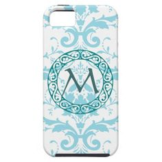 Monogram Light Blue Damask iPhone 5 Case Cover