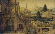 Hans Vredeman de Vries : Palace Gardens with Poor Lazarus in the foreground (Rijksmuseum) 1527-1607 ハンス・フレーデマン・デ・フリース