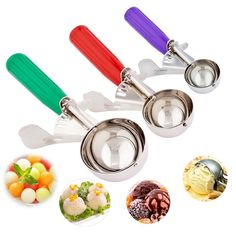 Ice Cream Scoops, Cookie Scoop Melon Baller 3 Pc Set, Cake Decoraction Trigger Cookie Scoop Set 18/8 Stainless Steel Spoon Scoopers Gift for Kids & Families - Elegant Gift Package: Amazon.ca: Home & Kitchen