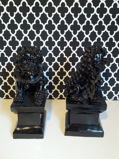 Black Foo Dog Bookends by VivaLaVidaBonita on Etsy, $30.00