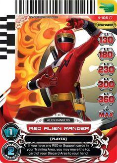 Red Alien Ranger Power Rangers Trading Card