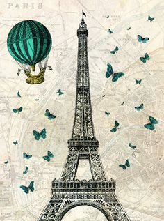 Eiffel Tower with Hot Air Balloon and Butterflies  - Digital Print