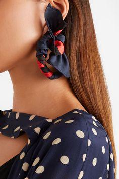 Balenciaga Printed silk-twill hoop earring