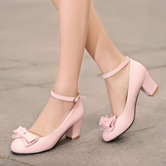Lolita Womens Bowknot Shoes Pumps Block Heels Mary Janes Ankle Strap US 8 Pink Pretty Shoes, Cute Shoes, Beautiful Shoes, Cute Pumps, High Heel Pumps, Pumps Heels, Prom Shoes, Dress Shoes, Dance Shoes