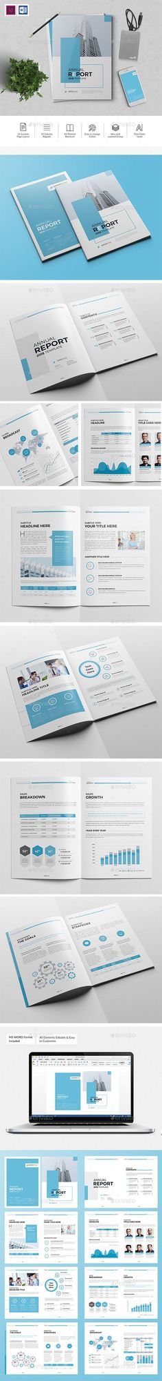 The Blue Annual Report Template InDesign INDD