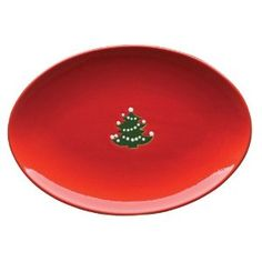White Tannenbaum Tree on Red Large Oval Platter Wachtersbach Fun Factory Germany
