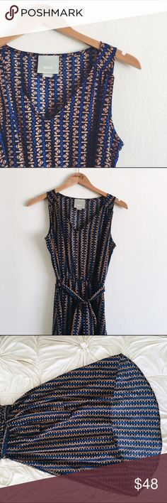 Anthropologie (Maeve) Dress Sleeveless hi-low Anthro dress! The dress comes with a belted sash and has loops for a belt of your own! The dress is sheer but not see through--super breezy for the summer months! Worn once. Anthropologie Dresses High Low