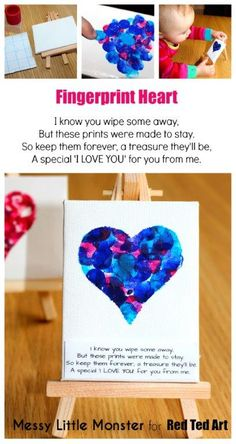 Gorgeous Fingerprint Keepsake Heart Canvases for Toddlers and preschoolers