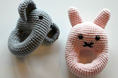 Elephant and bunny ratlle crochet - Without pattern Crochet Toys Patterns, Stuffed Toys Patterns, Baby Patterns, Knitting For Kids, Crochet For Kids, Baby Knitting, Crochet Bebe, Diy Crochet, Crochet Round