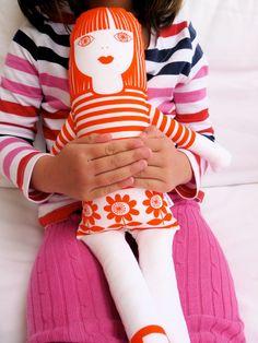 Scandi style screen printed retro 'Tilda' rag doll by Janefoster