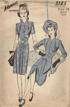 Vintage Advance 1940s Sewing Pattern Day by AdeleBeeAnnPatterns, $22.00