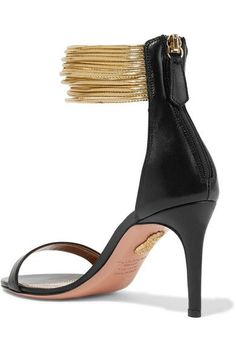 Aquazzura - Spin-me-around Leather Sandals - Black - IT