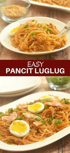 Easy Pancit Luglug with thick noodles, flavorful g Philipinische Desserts, Filipino Desserts, Filipino Food, Filipino Pancit, Easy Filipino Recipes, Filipino Culture, Pancit Palabok Recipe, Filipino Noodles, Asian Noodles