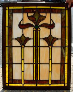 """This """"Arts and Crafts Stain glass window"""" dates from c1890 to 1910 Measures 25 and one half inches by 32 and one half inches"""