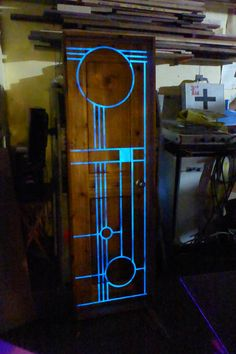 Custom door, cedar with epoxy/glow in the dark pigment …