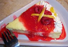 Traditional Lemon Ricotta Italian Cheesecake with Fresh Raspberry Sauce - come to mamma!  :D