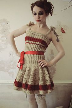 Dresses, Knits and Pretties for Broken Dolls and Victorian Ballerinas...(hand knitted dress in red and gold stripes)