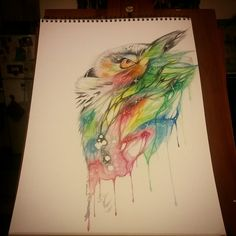 """Finished product Water colour owl/universe  11in. X 15in.  Medium : water colour/gel pen Title """" wisdom"""""""