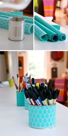 DIY tin can craft storage for the classroom! Craft Organization, Craft Storage, Paper Storage, Tin Can Crafts, Diy And Crafts, Diy Projects To Try, Craft Projects, Cool Diy, Easy Diy