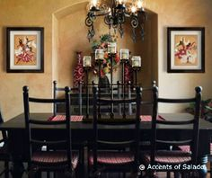Set a Spanish Table with Color and Texture: Few accessories say Spanish style like the dramatic beauty of iron. Compliment your Spanish style dining room with colorful wall art and top off your Spanish table with an impressive iron candelabra. Spanish Style Decor, Spanish Design, Warm Color Schemes, Iron Furniture, Black Furniture, Spanish Interior, World Decor, Iron Wall Decor, Warm Home Decor