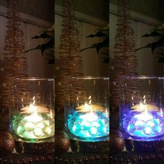 PartyLite colour changing base, marbles and a tea light