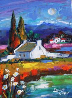 Marlise le Roux, colourful landscape artist from South Africa paints vivid original artworks of landscapes, forests & flowers. She is also the proud owner of Saxonwold Events Art Gallery that hosts regular art exhibitions. Art And Illustration, Art Pictures, Art Images, South African Artists, Arte Popular, French Art, Landscape Art, New Art, Art Oil