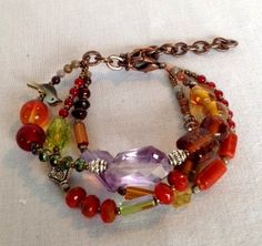 Boho Multistrand Beaded Bracelet by Wadeworks on Etsy, $23.00