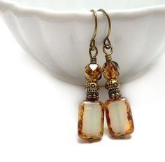 Creme Earrings, Picasso Rectangle Glass, Ecru Drop Earrings, Tortoise Shell, Neutral Colors, Yoga Earrings, Petite Short Dangles. - RockStoneTreasues. - etsy