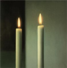 Lovely contrasts and stillness in this picture 'Candles' by Gerhard Richter. #Candles #Art #Light
