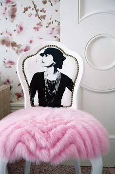 "The ""Coco"" chair is dressed in a repurposed Oscar de la Renta pink fur evening coat is part of Furniture makeover - Funky Furniture, Unique Furniture, Furniture Makeover, Painted Furniture, Painted Dressers, Chair Makeover, Furniture Design, Salon Interior Design, Salon Design"