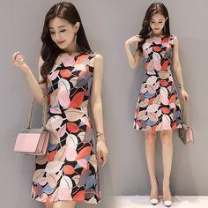 조엘 토끼 2017 여름 새로운 패션 개성 새로운 도착 여성은 간단한 라운드 넥의 민소매 드레스 모델을 인쇄 드레스