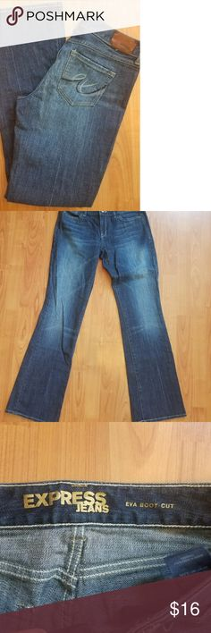 Express Eva bootcut 8 long jeans These jeans have barely been worn and are in excellent condition.  The waist measures at 15 inches across, there is an 8 inch rise and the inseam is 32 inches. Express Jeans Boot Cut