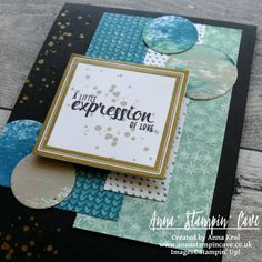 Anna' Stampin' Cave - Stampin' Up! Painter's Palette - A Little Expression Of Love Card for Siply Sketched Saturday Challenge  | handmade card | stampin up | any occasion card | Layered card | Blue & Mint | Mint & Gold | card sketch | challenge |