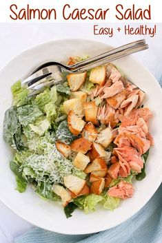 - (ad) This Salmon Caesar Salad is a healthy and delicious take on a classic Caesar. This seafood salad recipe features easy, homemade dressing, freshly baked croutons, and pan-seared salmon. via This Salmon Caesar Salad is a health Sea Food Salad Recipes, Salmon Salad Recipes, Salmon Salad Dressing, Smoked Salmon Salad, Fish Salad, Grilled Salmon Salad, Canned Salmon Recipes, Pan Seared Salmon, Gastronomia