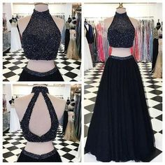 Modern High Neck Two-pieces Prom Dress-Black A-line with Beading Prom Dresses, High Neck Prom Dress, Black Prom Dress, Prom Dress Two Piece, Prom Dress A-Line Prom Dresses 2019 Prom Dresses Two Piece, Open Back Prom Dresses, Formal Dresses For Teens, Black Prom Dresses, A Line Prom Dresses, Prom Party Dresses, Homecoming Dresses, Dress Black, Dress Formal