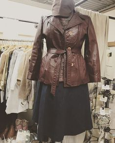 Cool vintage leather jacket and denim wraparound skirt from dealer 888. #vintagefashion #vintagestyle #vintageclothes #vintageclothing #vintage #clothes #temecula #olftowntemeculaantiquestore