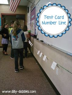 "A tent card number line - she uses this with decimals, but I can see it being used for whole numbers, too! Great for teaching number sense and ""distance"" between 2 numbers, or fractions and/or decimals and their sequence on a number line! Teaching Numbers, Math Numbers, Teaching Math, Teaching Time, Math Activities, Math Games, Math Math, Number Line Activities, Maths Resources"