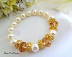 Swarovski Pearl Champagne Crystal Bracelet by DebraAnnCreations.etsy.com…