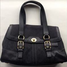 """LIKE NEW COACH HAMPTON black satchel handbag purse Like new, in beautiful, practically unused condition. This bag is from the Hampton series, and has the the c on the label, the centered signature print, the gorgeous lining, hefty hardware, stitching around feet, YKK zipper, and perfectly even stitching - all the marks of authenticity.Interior is beautiful,2 open pockets, side zip pocket. 4"""" wide, 15"""" length, 18"""" height includes 8"""" handle drop. Coach Bags Satchels"""