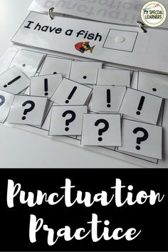 This adorable, easy read punctuation practice book is a great tool to work on using correct punctuation with your students with special needs. It also comes with the same sentences in worksheet format for additional practice! Kindergarten Literacy, Literacy Activities, Literacy Centers, Punctuation Activities, Reading Stations, Reading Centers, Reading Homework, Writing Centers, Writing Lessons