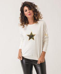 Sudadera Star Sudadera blanco roto  Estrella de camuflaje Bordado en manga izquierda Cuello redondo  Manga larga