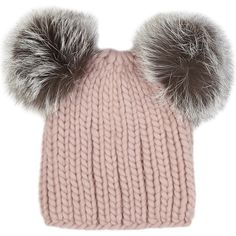 EUGENIA KIM Mimi pink fur pompom wool beanie ($230) ❤ liked on Polyvore featuring accessories, hats, beanie cap, eugenia kim hats, fox hats, pink beanie and pom pom hat