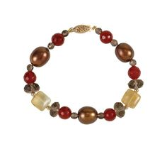Bracelets.com - Natural 14K Yellow Multi-Gemstone & Choc Pearl Bracelet