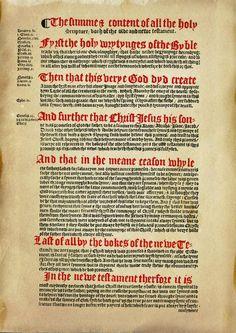 1537 Matthew-Tyndale Bible First Edition : Prefatory / Dedicatory / Summary Page