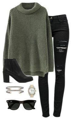 to shop this Look! Chunky olive sweater paired with distressed black jeans, black booties and on trend accessories for a put together fall and winter outfit. Fall Winter Outfits, Autumn Winter Fashion, Black Jeans Outfit Winter, Casual Winter, Green Sweater Outfit, Black Booties Outfit, Sweater Boots, Winter Wear, Casual Dresses For Winter